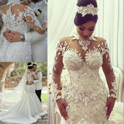 يزين الخرز الرقبة العالية فساتين الزفاف حورية البحر | محض تول أثواب الزفاف كم طويل_4