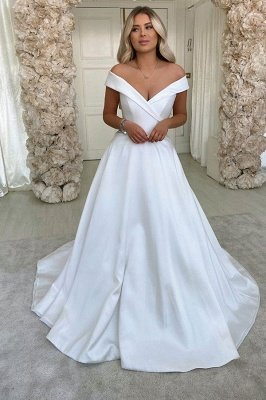 Simple Retro White Off the shoulder A-line Bridal Gowns_1