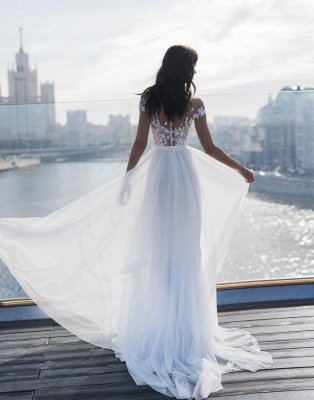 Off The Shoulder Appliques A-line Wedding Dresses | Cheap Side Split Tulle Bridal Gowns_2