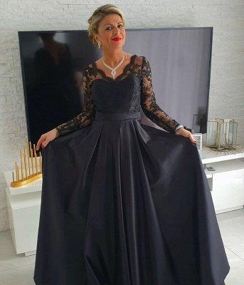 Elegantes mangas largas Vestidos de noche de encaje de satén con cuello en V negro_2