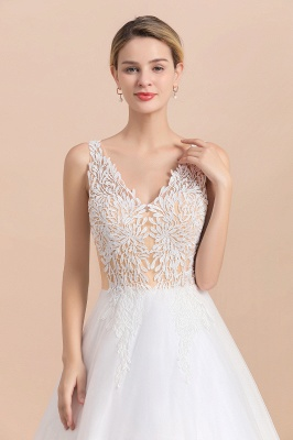 Elegant V-Neck Floral Lace A-line Wedding Dress Beach Sleeveless Tulle Church Dress_5