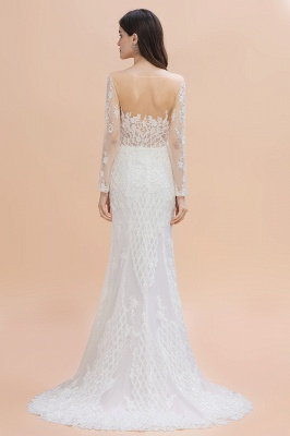Luxury Beaded Lace Mermaid Wedding Dresses Tulle Appliques Bride Dresses with Detachable Train_4
