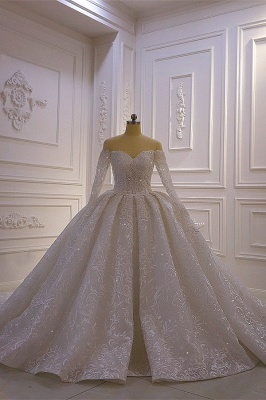 Vestido de bola de lujo Mangas largas Cariño de encaje 3D Vestidos de novia largos