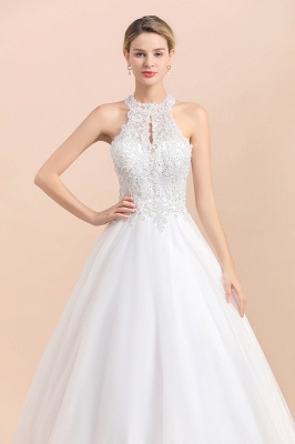 Gorgeous Halter Rhinstones Wedding Dress White Lace Appliques Tulle Garden Bridal Gowna_9