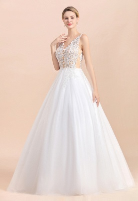 Elegant V-Neck Floral Lace A-line Wedding Dress Beach Sleeveless Tulle Church Dress_10