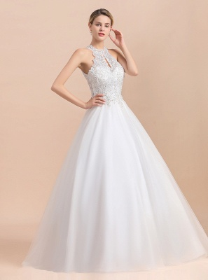 Gorgeous Halter Rhinstones Wedding Dress White Lace Appliques Tulle Garden Bridal Gowna_5