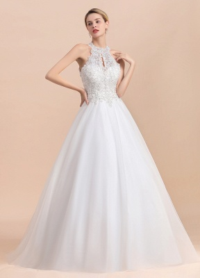 Gorgeous Halter Rhinstones Wedding Dress White Lace Appliques Tulle Garden Bridal Gowna_2