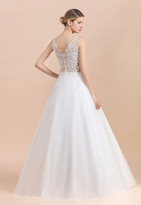 Elegant V-Neck Floral Lace A-line Wedding Dress Beach Sleeveless Tulle Church Dress_3