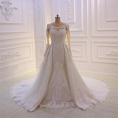 Elegant Jewel Long Sleeves Tulle Lace Sparkle Ivory Wedding Dress_3