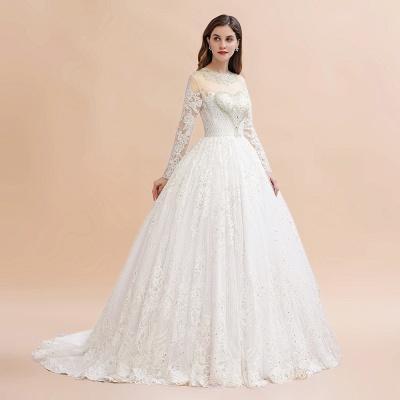 Glamorous Long Sleeve Beads White/Ivory Lace Appliques Wedding Dress_8
