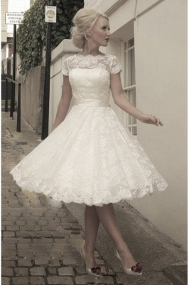 Elegant Short Sleeves Tulle Lace Appliques Mini Wedding Dress_1