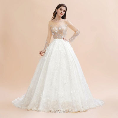 Charming Floral Lace Appliques Wedding Dress Gorgeous White Beads Bridal Gown_5