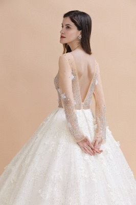 Charming Floral Lace Appliques Wedding Dress Gorgeous White Beads Bridal Gown_4