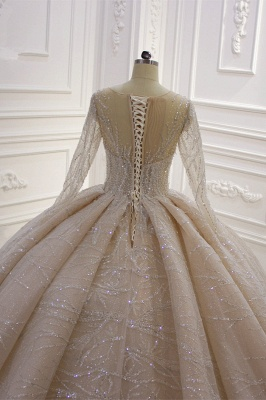 Shiny Ball Gown Tulle Jewel Long Sleeves Ruffles Wedding Dress_5