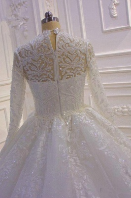 Sparkle Lace Ball Gown High Neck Tull Long Sleeves Wedding Dress_4
