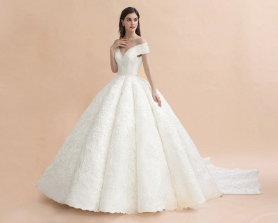 Off Shoulder Floor Length Bridal Gowns Lace Appliques Chapel Train Wedding Dress_5