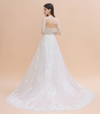 Luxury Beaded Lace Mermaid Wedding Dresses Tulle Appliques Bride Dresses with Detachable Train_11