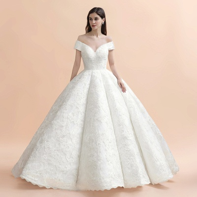 Off Shoulder Floor Length Bridal Gowns Lace Appliques Chapel Train Wedding Dress_7