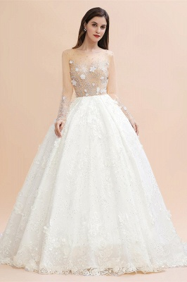 Charming Floral Lace Appliques Wedding Dress Gorgeous White Beads Bridal Gown_1