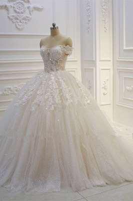 Off-the-shoulder Tulle Lace Appliques Sequined Wedding Dress_2