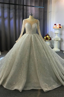 Shiny Ball Gown Tulle Jewel Long Sleeves Ruffles Wedding Dress_8