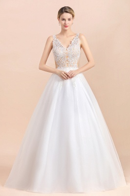 Elegant V-Neck Floral Lace A-line Wedding Dress Beach Sleeveless Tulle Church Dress_4