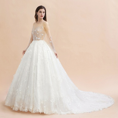 Charming Floral Lace Appliques Wedding Dress Gorgeous White Beads Bridal Gown_11