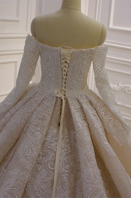 Long Sleeves Ball Gown Off-the-shoulder Sequins Wedding Dress_5