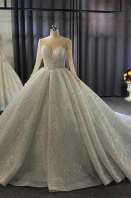 Shiny Ball Gown Tulle Jewel Long Sleeves Ruffles Wedding Dress_9