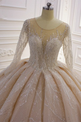 Shiny Ball Gown Tulle Jewel Long Sleeves Ruffles Wedding Dress_3