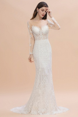 Luxury Beaded Lace Mermaid Wedding Dresses Tulle Appliques Bride Dresses with Detachable Train_3