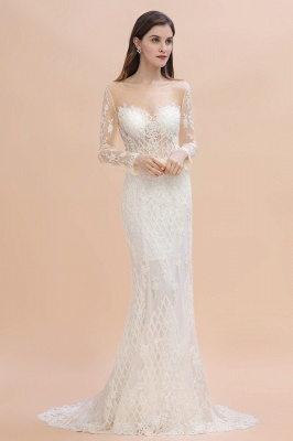 Luxury Beaded Lace Mermaid Wedding Dresses Tulle Appliques Bride Dresses with Detachable Train_7