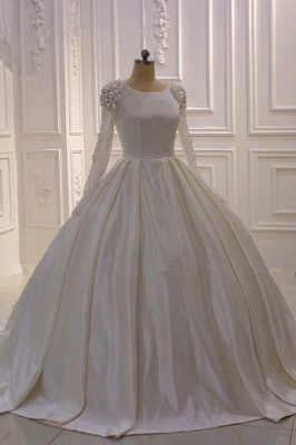 Ivory Long Sleeves Jewel Ruffles Flowers Bedaings Wedding dress_2