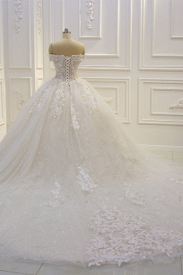 Off-the-shoulder Tulle Lace Appliques Sequined Wedding Dress_3