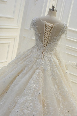 Luxury Ball Gown Long Sleeves Lace Applqiues Beadings Wedding Dress_7
