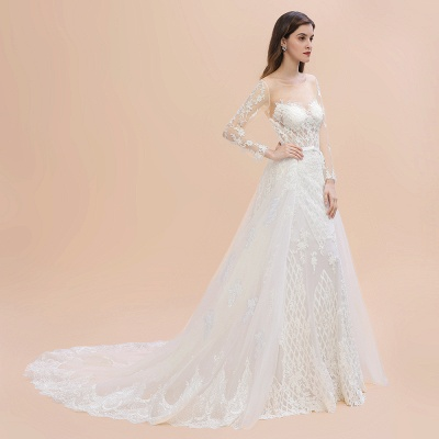 Luxury Beaded Lace Mermaid Wedding Dresses Tulle Appliques Bride Dresses with Detachable Train_12