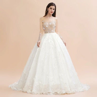 Charming Floral Lace Appliques Wedding Dress Gorgeous White Beads Bridal Gown_7
