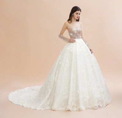 Charming Floral Lace Appliques Wedding Dress Gorgeous White Beads Bridal Gown_13