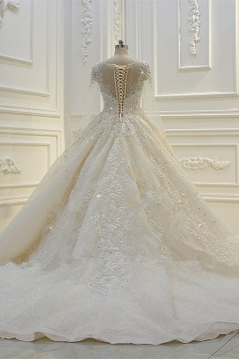 Luxury Ball Gown Long Sleeves Lace Applqiues Beadings Wedding Dress_6