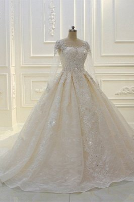 Luxury Ball Gown Long Sleeves Lace Applqiues Beadings Wedding Dress_2