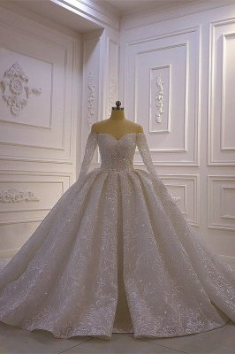 Luxury Ball Gown Long Sleeves 3D Lace Sweetheart Long Wedding Dresses_1