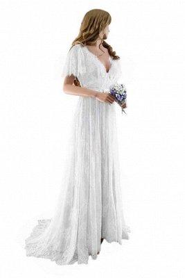Unique robe de mariée bohème en dentelle à manches demi | Robes de mariée chic Summer Beach_3