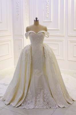 Sweetheart Lace Appliques Off-the-Shoulder Detachable Train Wedding Dress_1