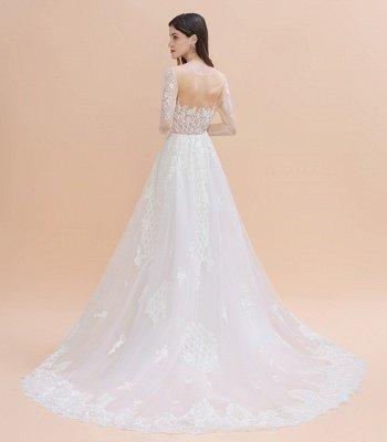 Luxus Perlen Spitze Meerjungfrau Brautkleider Tüll Appliques Brautkleider mit abnehmbaren Zug_11
