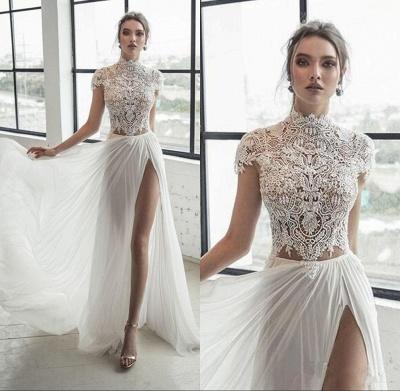 Col haut Manches courtes Robe de mariée en mousseline ivoire fendue | Robe de mariée longue élégante_2