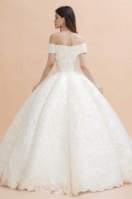 Elegante vestido de novia con apliques de encaje blanco fuera del hombro_2