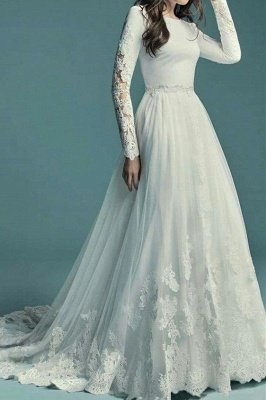 Elegant Round neck Tulle white Long sleeves A-line Wedding Dress