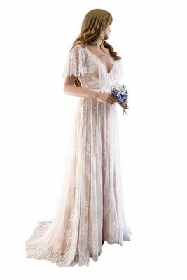 Unique robe de mariée bohème en dentelle à manches demi | Robes de mariée chic Summer Beach_1