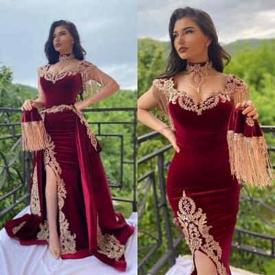 Wine red evening dresses long Yellow Floral Appliques | Velvet evening wear online_2
