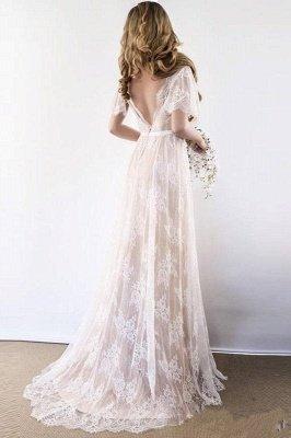 Unique robe de mariée bohème en dentelle à manches demi | Robes de mariée chic Summer Beach_5